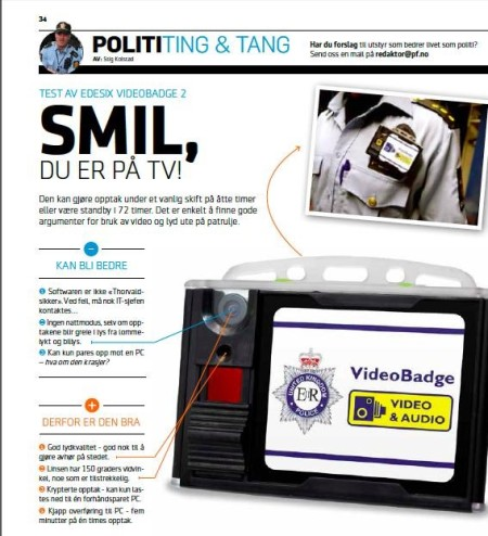 Article about Videobadge in Norwegian Police Forum