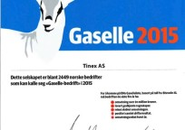 TINEX has again received a nomination for Gaselle Company in 2015 from the largest financial newspaper in Norway, Dagens Næringsliv(DN).
